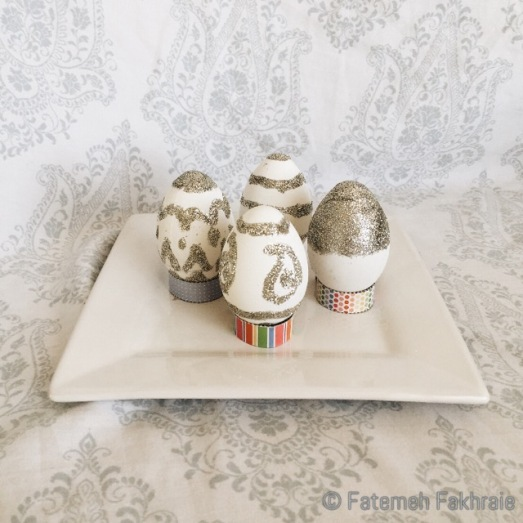 Silver glittered eggs for spring