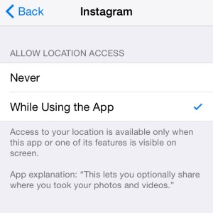 instagram location permissions