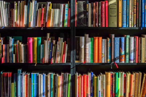 Photo of colorful marketing books on shelves.